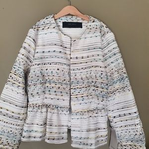 Zara Womens White Multicoloured Embroidered Jacket